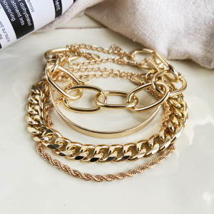 Gold Plated Braid Multi Layered Hook Closure Bracelet