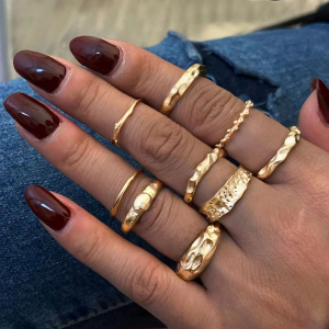 Gold Plated 9 Pieces Bohemian Fashion Rings Set