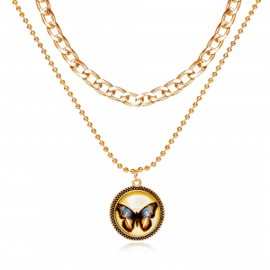 Butterfly Patched Multi Layered Women Fashion Necklace