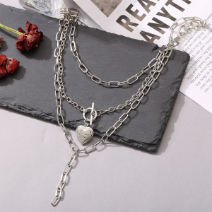 Silver Plated Three Layered Chain Necklace - Silver