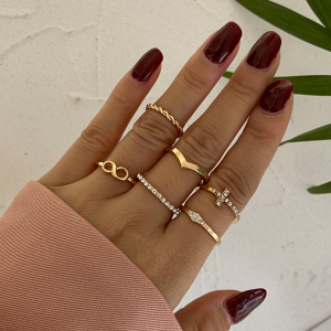 Gold Plated Six Pieces Crystal Patched Rings Set - Golden