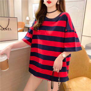 Round Neck Stripes Print Loose Casual Wear Top - Red