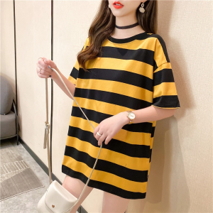 Round Neck Stripes Print Loose Casual Wear Top - Yellow