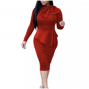 Body Fitted Party Wear Bodycon Midi Dress - Red