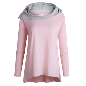 Shawl Neck Body Fitted Contrast Top - Pink