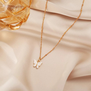 Acrylic Dangle Butterfly Necklace For Women - White