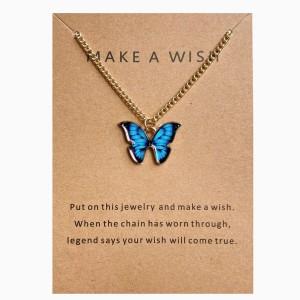 Butterfly Pendant Hook Closure Women Fashion Necklace - Blue