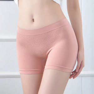 Breathable Solid Color Fitted Shorts Underwear - Pink