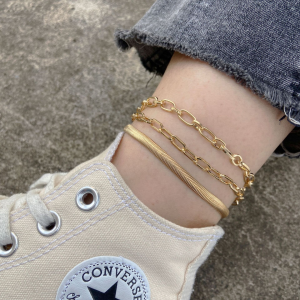 Multi Layer Gold Plated Anklet - Golden
