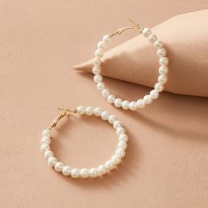 Pearl Decorative Spherical Party Wear Earrings Pair - White