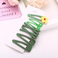 Seven Pieces Multi Shaped Fashion Hair Clips - Green