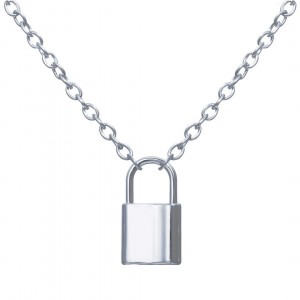 Silver Plated Locked Lock Chain Pendant