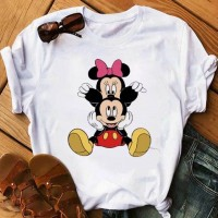 Micky Minnie Prints Round Neck Fashion T-Shirt - White