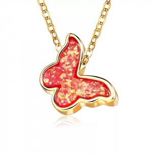 Butterfly Crystal Gold Plated Fashion Pendant - Red