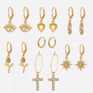 Cross Pendant Seven Pairs Earrings Pair Set - Golden