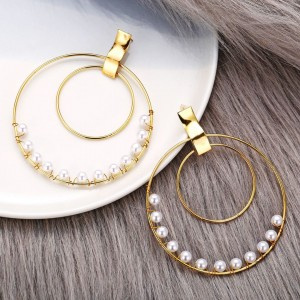 Pearl Decorative Spherical Gold Plated Earrings Pair - Golden