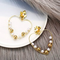 Heart Shaped Floral Gold Plated Earrings Pair - Golden