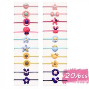 Twenty Pieces Elastic Multishaped Hair Bands Set - Multicolor