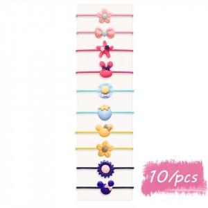 Ten Pieces Elastic Multishaped Hair Bands Set - Multicolor