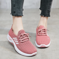 Canvas Breathable Lace Closure Rubber Sole Sneakers - Pink