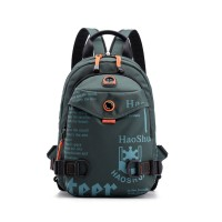 Printed Zipper Closure Double Strap Casual Backpacks - Gray