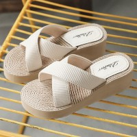 Cross Strap Thick Sole Women Fashion Slippers - White