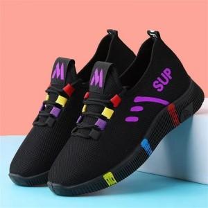 Nylon Lace Closure Canvas Plastic Sole Light Weight Sneakers - Purple