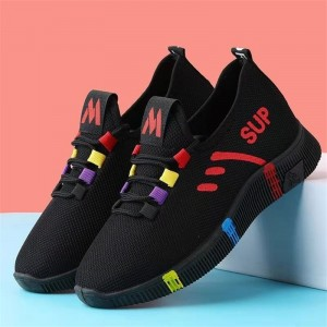 Nylon Lace Closure Canvas Plastic Sole Light Weight Sneakers - Red