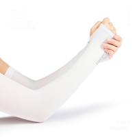 Sun Protection Arm Guard Tight Thin Fabric Sleeves - White