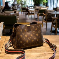 Magnetic Closure Printed Floral Synthetic Leather Handbags - Dark Brown