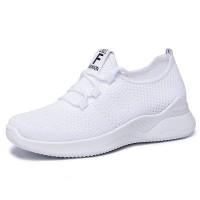 Mesh Lace Closure Slip Over Fashion Sneakers - White