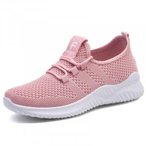 Mesh Lace Closure Slip Over Fashion Sneakers - Pink