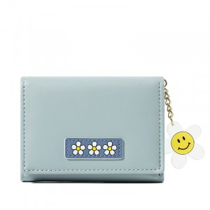 Floral Patched Zipper Smiley Chain Handheld Cute Wallet - Blue