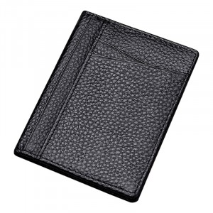 Synthetic Leather Handheld High Quality Card Wallet - Black