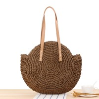 Round Style Contrast Vintage Style Shoulder Straw Bags - Coffee