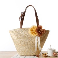 Floral Patched Straw Beach Style Vintage Shoulder Bags - Beige
