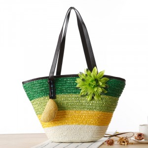 Floral Patched Trio Stripe Straw Beach Style Shoulder Bags - Green