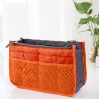 Nylon Zipper Closure Traveller Makeup And Multipurpose Bags - Orange