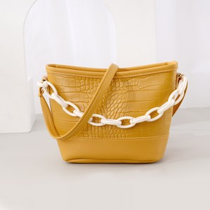 Thick Chain Handheld Synthetic Leather Messenger Bags - Yellow