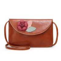 Flower Patched High Quality Synthetic Leather Messenger Bags - Brown