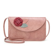Flower Patched High Quality Synthetic Leather Messenger Bags - Pink