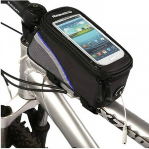 Zipper Closure Easy Installation Cycle Mobile Cover Pocket - Black Gray