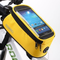 Zipper Closure Easy Installation Cycle Mobile Cover Pocket - Yellow