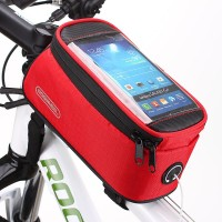 Zipper Closure Easy Installation Cycle Mobile Cover Pocket - Red