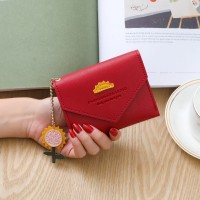 Synthetic Leather Zipper Cute Envelope Style Wallet - Red
