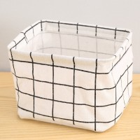 Geometric Prints Multipurpose Canvas Basket - White