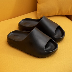 Thick Sole Plastic Open Toe Casual Slippers - Black