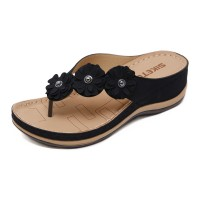 Floral Patched Thick Sole Slip Over Slippers - Black