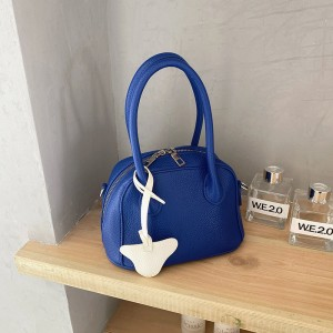 Synthetic Leather Double Handed Handbags - Blue