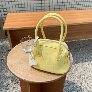 Synthetic Leather Double Handed Handbags - Yellow